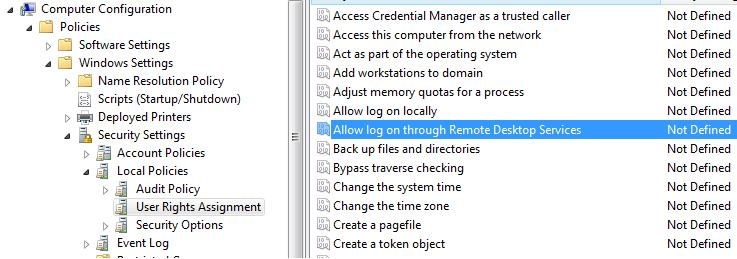 Allow log on through Remote Desktop Services