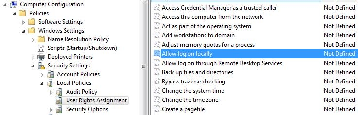 Allow log on locally